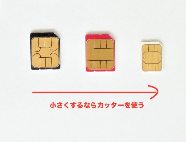 SIMサイズをカッターでnanoサイズに変更